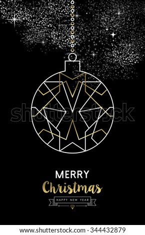 Merry Christmas Happy New Year elegant outline geometry style art deco bauble ball ornament in gold and white. Ideal for holiday greeting card, xmas poster or web. - stock photo