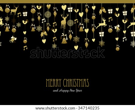 Merry Christmas Happy New Year holiday decoration in gold color with deer, holly, bird, snow and gift elements. Ideal for Xmas greeting card, event invitation or poster.