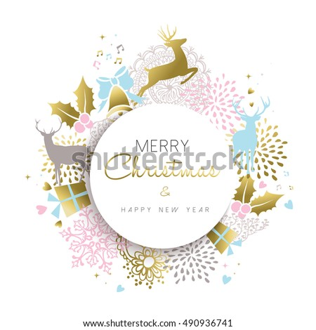 Merry Christmas happy new year illustration in gold color with deer, holiday luxury decoration and hand drawn elements.