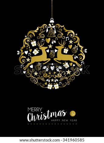 Merry christmas happy new year luxurious golden ornament ball shape on black background with deer and vintage elements. Ideal for xmas greeting card or elegant holiday party invitation.  - stock photo