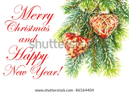 merry christmas. happy new year. red decoration on green tree. card concept