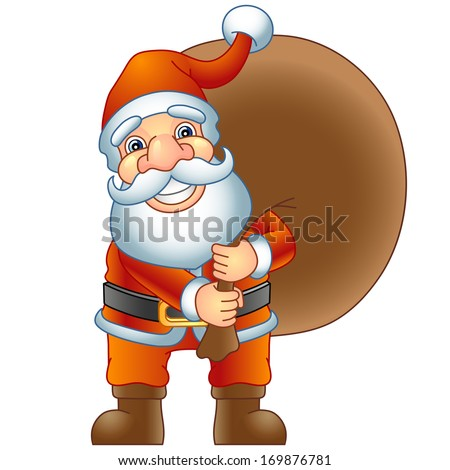 Merry Christmas, Ho-Ho-Ho! Santa Claus with a bag of gifts. Raster version, EPS file also included in the portfolio. - stock photo