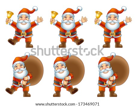 Merry Christmas, Ho-Ho-Ho! Santa Claus with a handbell and Santa Claus with a bag of gifts. Raster version, EPS file also included in the portfolio. - stock photo