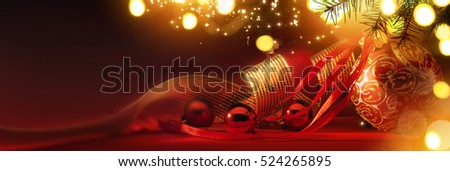 Merry Christmas; Holidays background with Xmas tree decoration on red background and copy space for your text