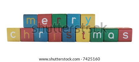 Merry Christmas in colorful children's block letters isolated on white
