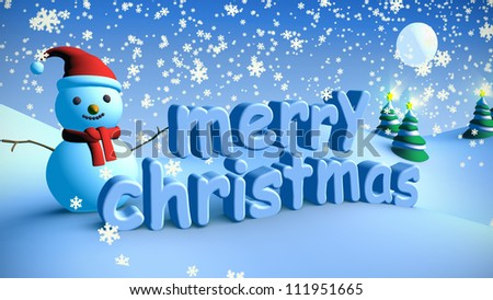 Merry Christmas in winter snow landscape - stock photo