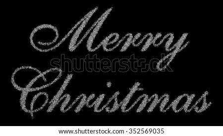 Merry christmas inscription consisting of 100000 snowflakes on a black background