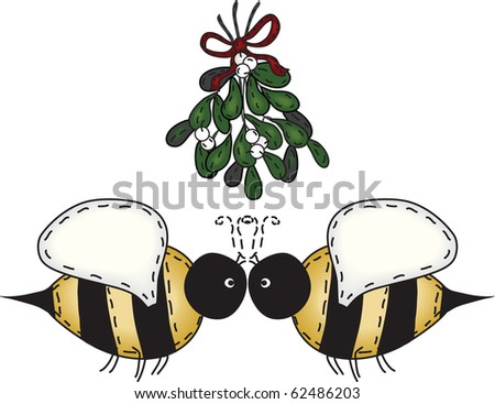 Merry Christmas kissing bees under mistletoe