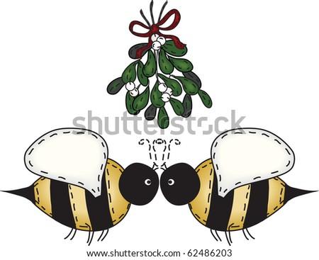 Merry Christmas kissing bees under mistletoe - stock photo
