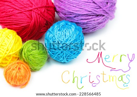 Merry Christmas lettering from colorful thread isolated over white