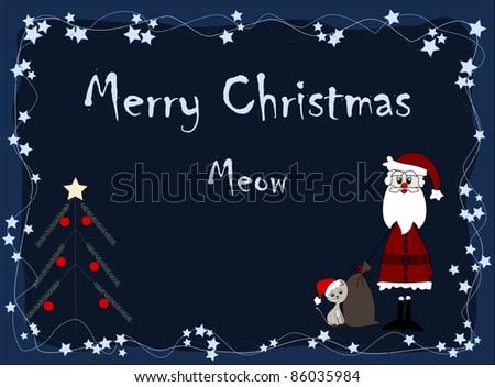 Merry Christmas - meow - santa and cat - stock photo