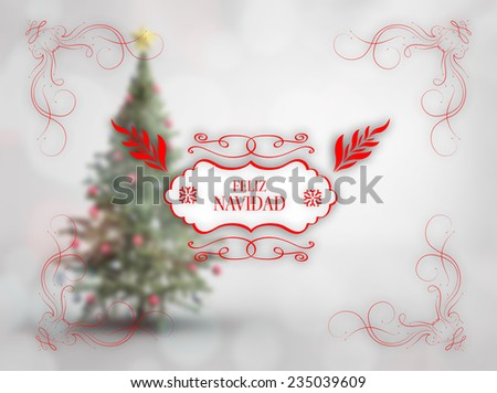 Merry christmas message against blurry christmas tree in room - stock photo