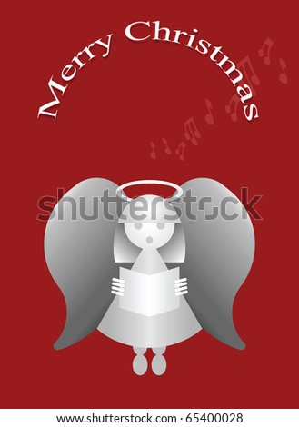 Merry Christmas message with carol singing angel - stock photo