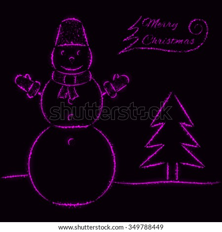 Merry Christmas of purple light card with snowman