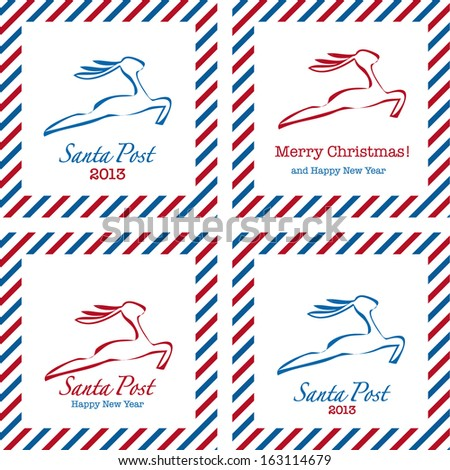 Merry Christmas postal stamps: gift, tree, deer and holly - stock photo