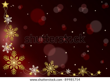 Merry Christmas - red background with snowflakes - stock photo