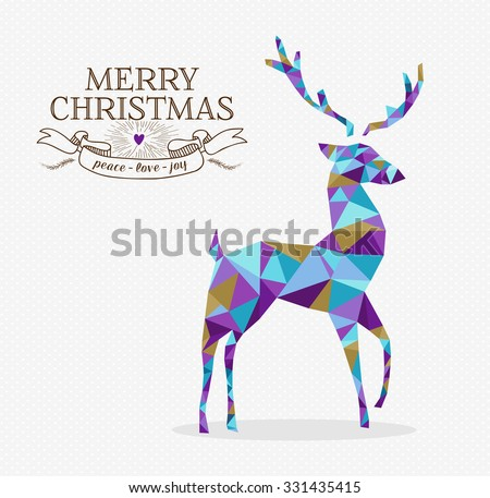 Merry christmas reindeer shape in triangle origami hipster style with text label. Ideal for xmas greeting card or holiday party invitation. - stock photo