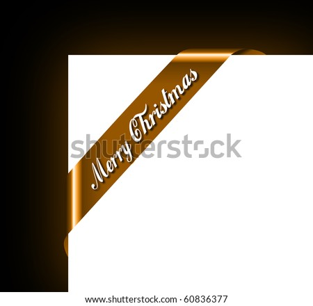 Merry Christmas Ribbon for Picture Framing - stock photo