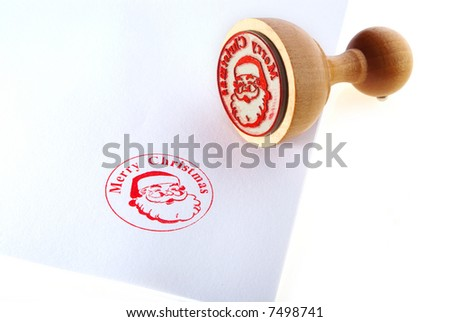 Merry christmas  rubber stamp - stock photo