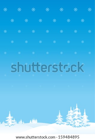 Merry Christmas's or New Year's landscape. Vertical background of winter landscape