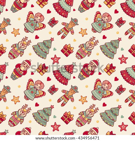 Merry Christmas. Seamless pattern. Abstract background. Holiday ornament. Season decoration. New year template. Festive Xmas texture. Winter decorate. Best for greeting card, invitation, wrapping.  - stock photo