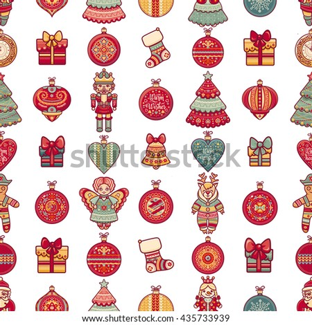Merry Christmas. Seamless pattern. Abstract background. Holiday ornament. Season decoration. New year template. Festive texture. Winter decorate. Santa Claus, reindeer, ball, toy, Xmas tree, greeting  - stock photo