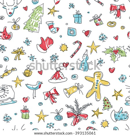 Merry Christmas Seamless Pattern. Hand drawn and cute. Raster version. - stock photo