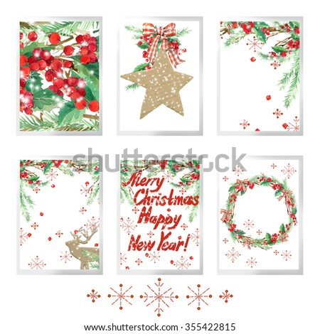 Merry christmas set for holiday greeting cards. Watercolor Christmas tree, reindeer, holly branches, snowflake, forest tree. New Year and Merry Christmas card set. Winter Holiday Design.  - stock photo