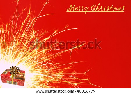 Merry Christmas sparkler - stock photo