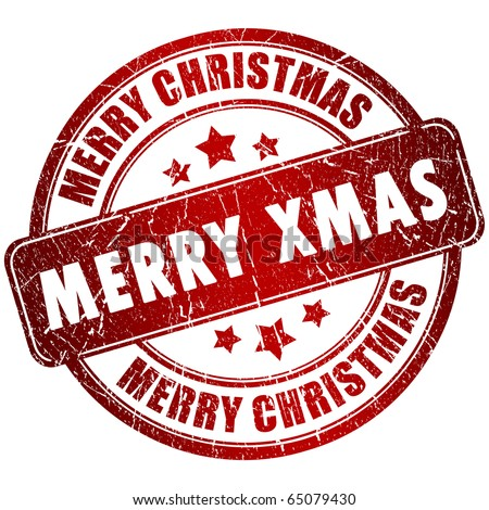 Merry christmas stamp - stock photo
