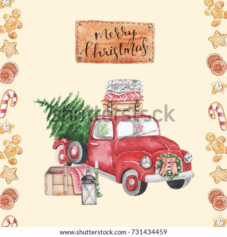 Merry Christmas. stylish vintage watercolor illustration. red car with christmas tree. Christmas card