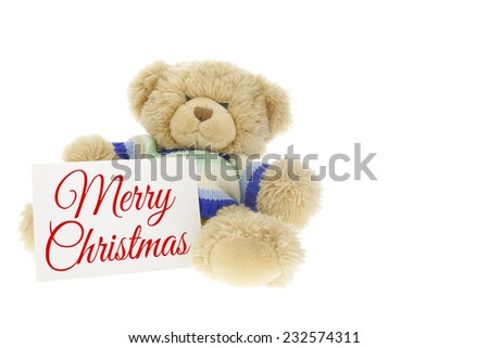 Merry Christmas Teddy Bear Gift on pure white background - stock photo
