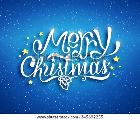 Merry Christmas text lettering for greeting card, prints and web banner. Blue blurred background with bokeh and hand drawn inscription for winter holidays.  - stock photo