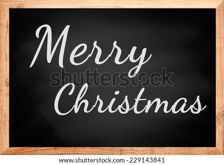 Merry Christmas text on chalkboard.