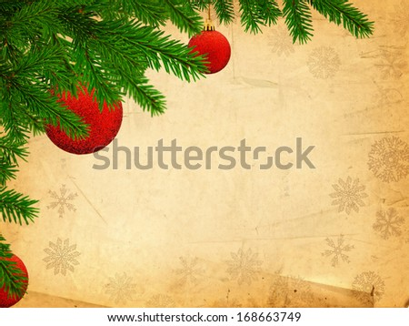 Merry Christmas Theme With Pine Tree Brunch and Red Balls at Vintage Background, Copyspace  - stock photo