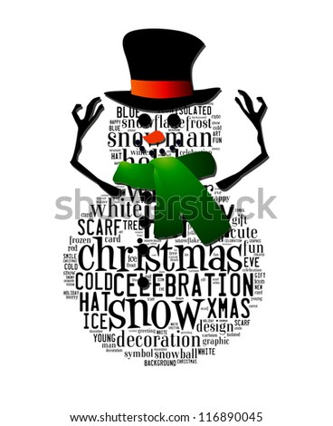 Merry Christmas theme word in shape of Snowman with hat and scarves isolated in white background