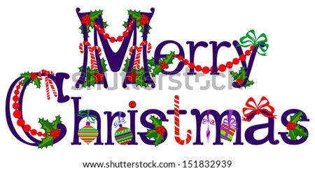 Merry Christmas Title, Raster illustration - stock photo