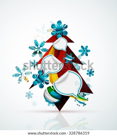 Merry Christmas tree with stickers. Holiday concept - stock photo