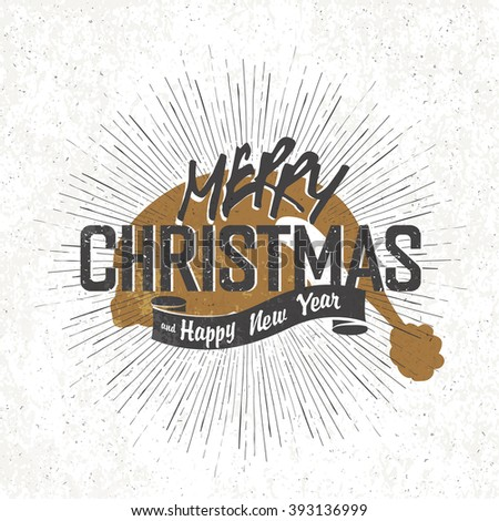Merry Christmas Vintage Monochrome Lettering with Santa`s hat silhouette on background. Raster version. - stock photo
