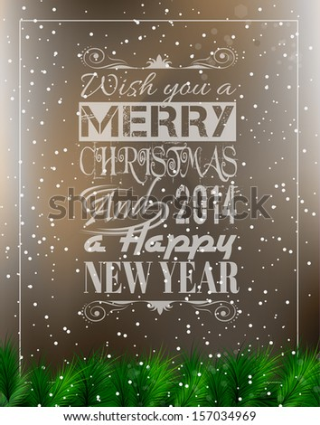Merry Christmas Vintage retro typo background for your greetings or invitation covers. - stock photo