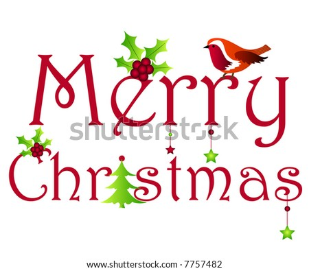 Merry Christmas wishes with holly, tree, robin and stars - stock photo