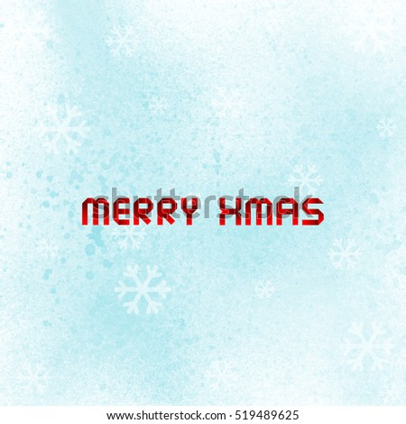 merry christmas with blue spray paint on white background