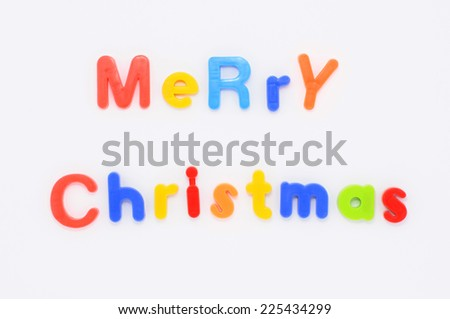 Merry christmas word from plastic alphabet