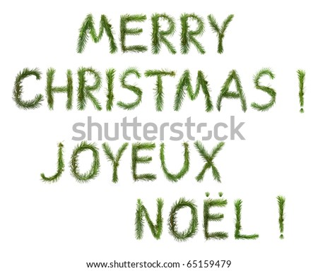 Merry Christmas - words of congratulation (in English and French) made of a pine branches