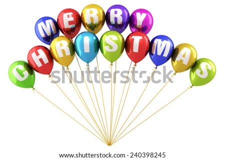 Merry Christmas Writing Colorful balloons render (isolated on white and clipping path) - stock photo
