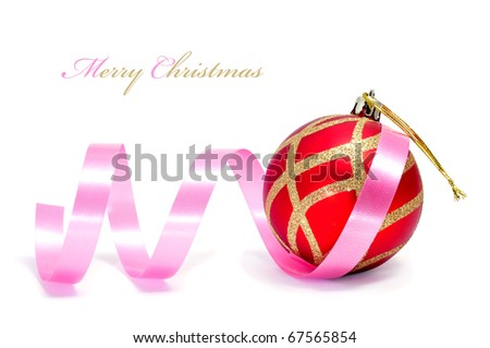 merry christmas written in a white background with a pink ribbon and a red and golden christmas ball - stock photo