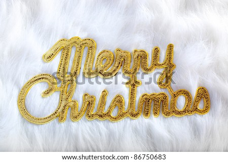 Merry christmas written in gold on white fur in winter holidays - stock photo