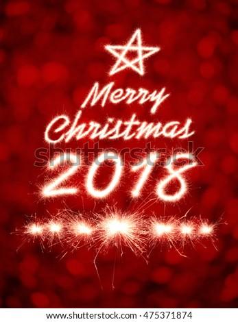 Merry Christmas 2018 Written Sparkle Firework Stock Photo ...