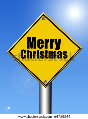 Merry christmas yellow signal on sky background, outdoor illustration