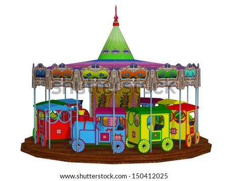 merry-go-round, isolated on the white background - stock photo